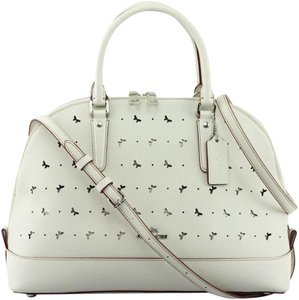 Coach Leather Perforated Sierra Satchel in chalk