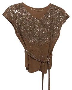 Twelfth St. by Cynthia Vincent Top Nude silk with silver sequins