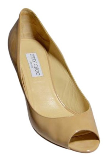 Jimmy Choo Patent Leather Like New Office Wear Nude Wedges