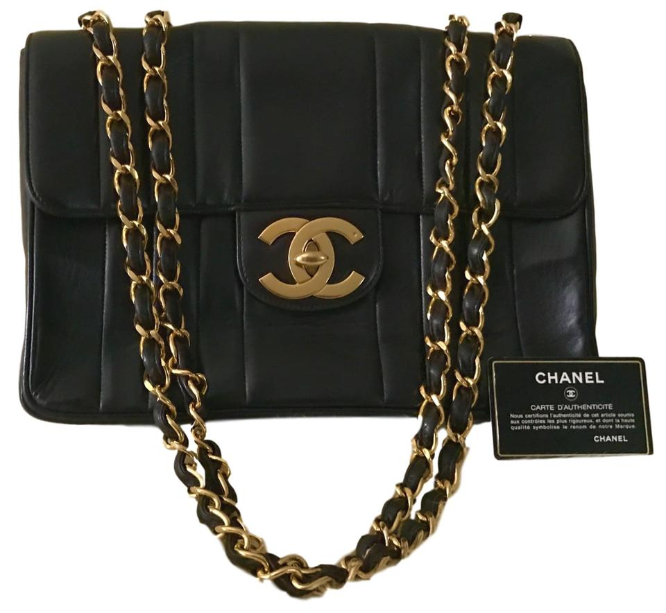ffa22f6f798e Chanel Classic XL Vintage 1993 Vertical Quilted Jumbo Maxi Flap Black  Lambskin Leather Shoulder Bag
