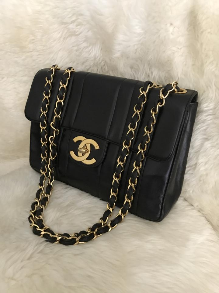 fb7415938dd7 Chanel Classic XL Vintage 1993 Vertical Quilted Jumbo Maxi Flap Black  Lambskin Leather Shoulder Bag - Tradesy