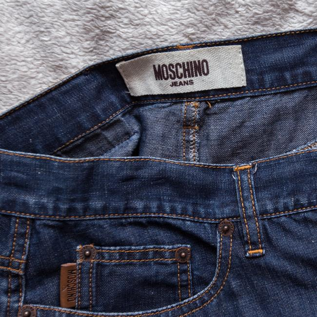 Moschino Jean Eyelet Vintage Mini It42 Mini Skirt Blue