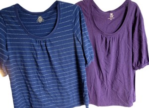Faded Glory T Shirt Purple Navy