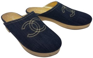 Chanel Hardware Interlocking Cc Embroidered Denim Round Toe Blue, Gold Mules