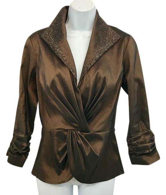 Preload https://img-static.tradesy.com/item/21590069/brown-collection-embellished-stretchy-evening-blouse-size-6-s-0-1-650-650.jpg
