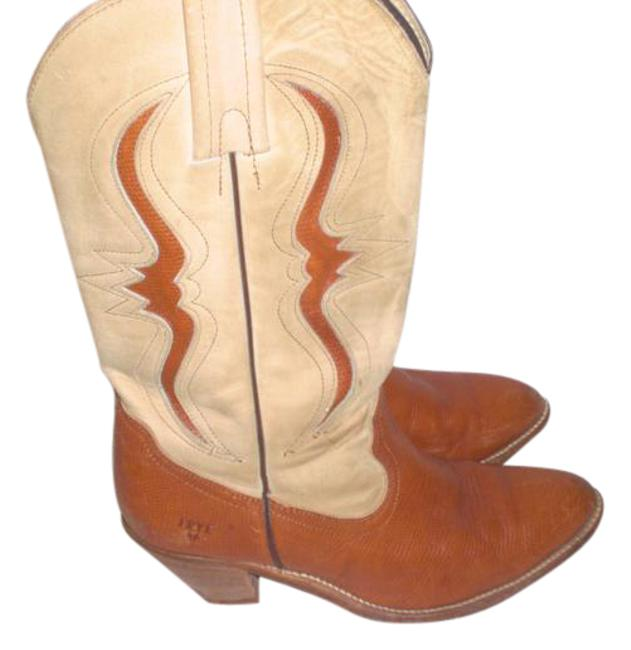 Item - Brown/Cream 7241 Lizard Print Inlay Cowboy Boots/Booties Size US 8.5 Wide (C, D)