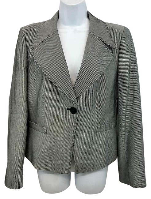 Preload https://img-static.tradesy.com/item/21590145/armani-collezioni-blacksilver-cotton-blend-jacket-blazer-size-10-m-0-1-650-650.jpg