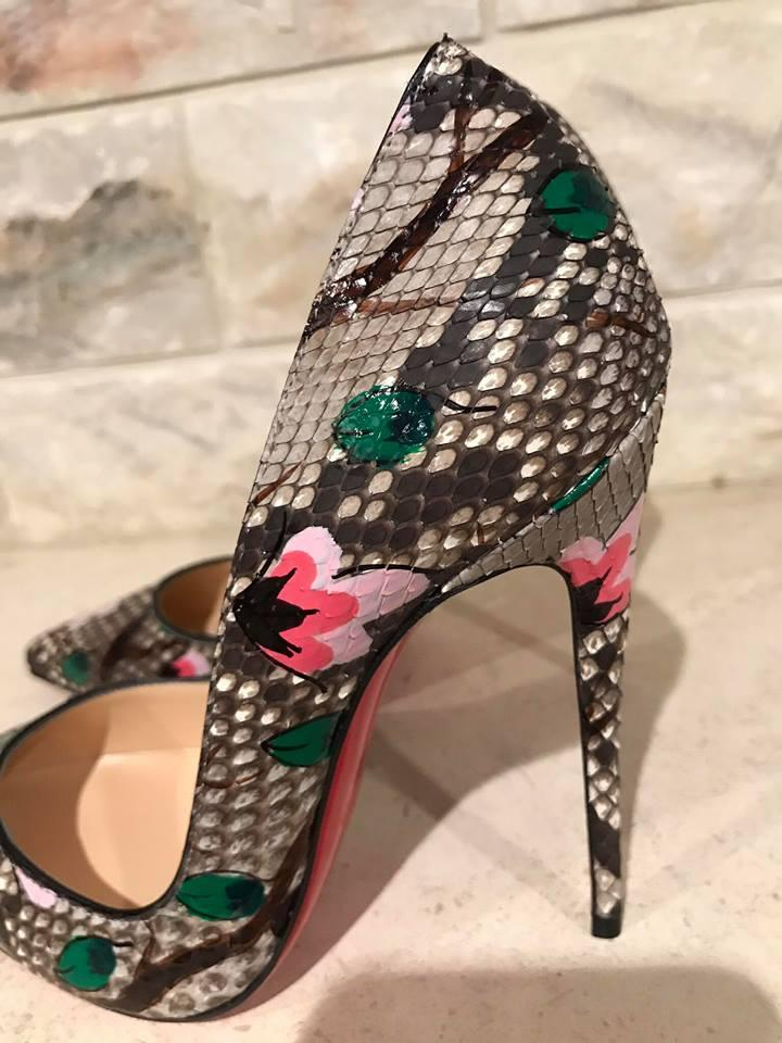 6eb62b368b6 Christian Louboutin Grey So Kate 120 Python Flower Snake Heel 38.5 Pumps  Size US 8.5 Regular (M, B) 15% off retail