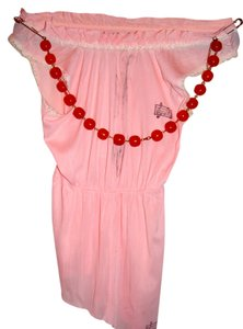 Other Vintage Halter Agatha Resurrection Beaded Chain Baby Pink Polyester and White Lace Halter Top
