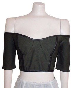 Do & Be Crop Textured Faux Leather Off The Shoulders Do&be Top GREEN