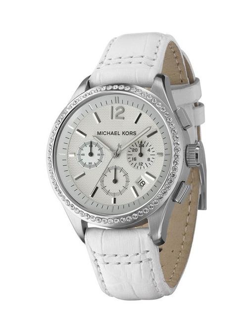 Michael Kors White Silver Croc-embossed Leather Watch Michael Kors White Silver Croc-embossed Leather Watch Image 1