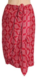 Charter Club Silk Wrap Printed Mini Skirt RED