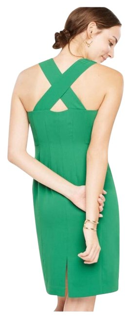 Preload https://img-static.tradesy.com/item/21590499/ann-taylor-green-sleeveless-cross-back-sheath-mid-length-night-out-dress-size-12-l-0-2-650-650.jpg