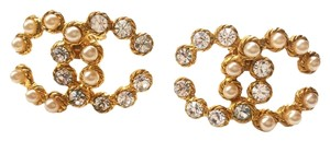 Chanel Vintage Rare Chanel CC Pearl Rhinestone LARGE Clip on Earrings