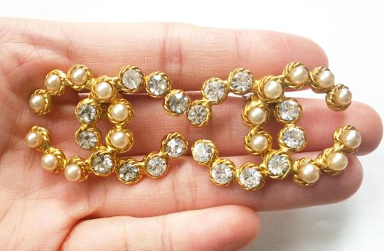 Chanel Vintage Rare Chanel CC Pearl Rhinestone LARGE Clip on Earrings Image 1