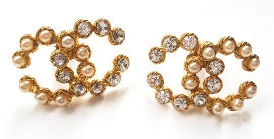 Chanel Vintage Rare Chanel CC Pearl Rhinestone LARGE Clip on Earrings Image 2