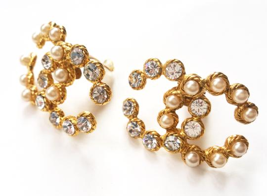 Chanel Vintage Rare Chanel CC Pearl Rhinestone LARGE Clip on Earrings Image 3