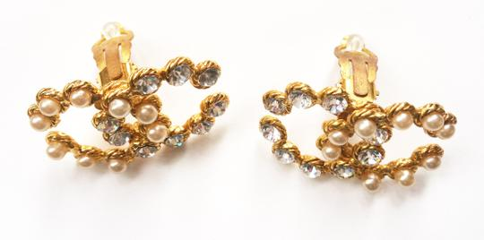 Chanel Vintage Rare Chanel CC Pearl Rhinestone LARGE Clip on Earrings Image 4