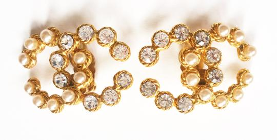 Chanel Vintage Rare Chanel CC Pearl Rhinestone LARGE Clip on Earrings Image 5