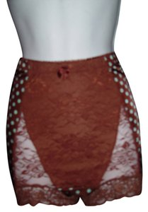 Rhonda Shear Burlesque Rockabilly Mini Lace Madonna Lady Gaga Stage Dance Theater Diva Mini/Short Shorts Brown with White Polka Dot Girdle Short