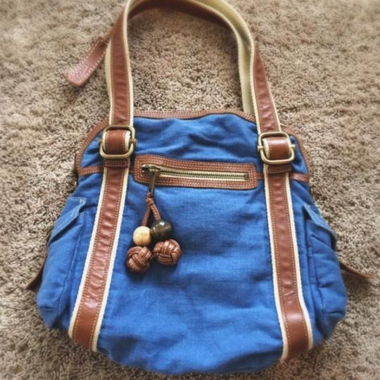 Fossil Denim Leather Tote in Blue
