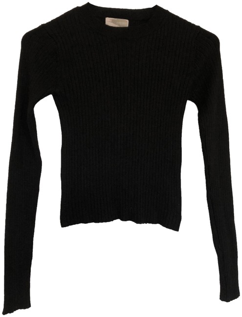Preload https://img-static.tradesy.com/item/21590735/forever-21-knit-long-sleeve-black-sweater-0-7-650-650.jpg