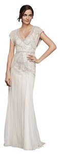 Jenny Packham Ivory/Silver Polyester Jp341704 Beaded Sheath with Blouson Bodice Vintage Wedding Dress Size 4 (S)