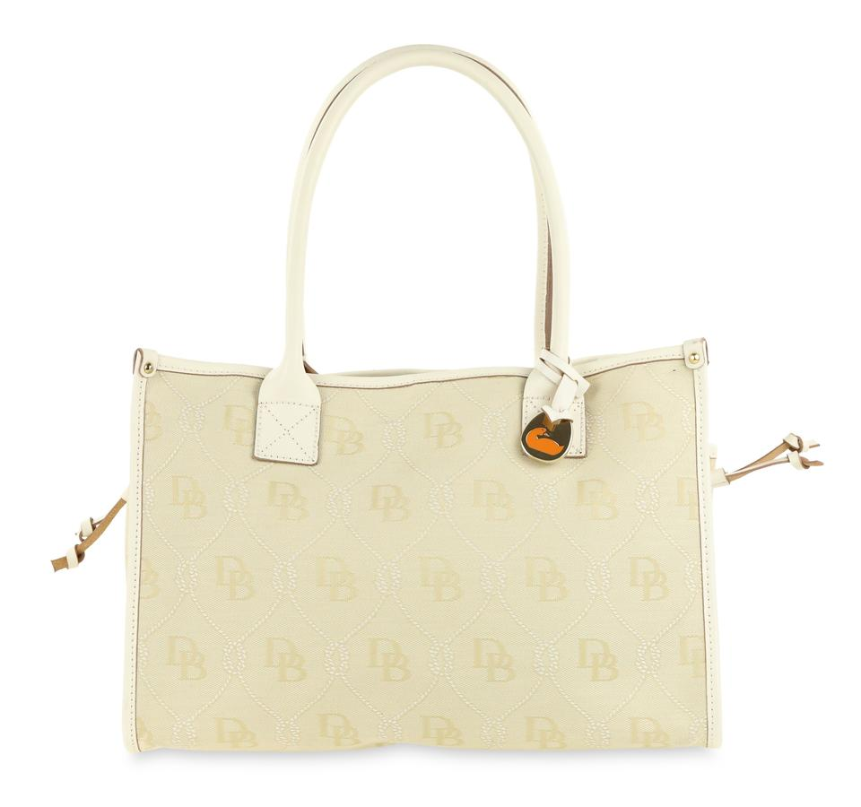 Dooney Bourke Ivory Db Small With Drawstring White Canvas Tote