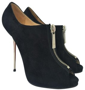 Christian Louboutin High Heels Spikes Toe Ankle Pump Black Suede Boots