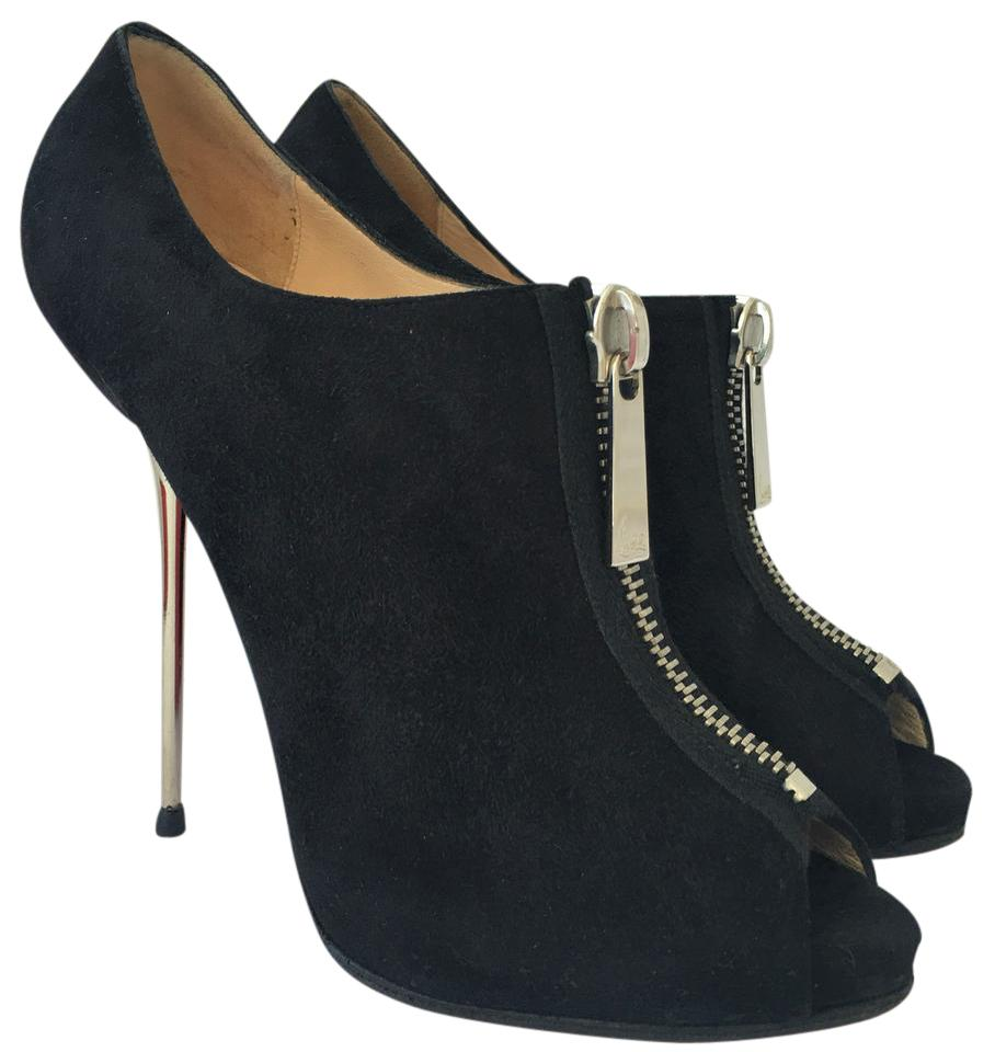 f391e2d999dc Christian Louboutin High Heels Spikes Toe Ankle Pump Black Suede Boots  Image 0 ...