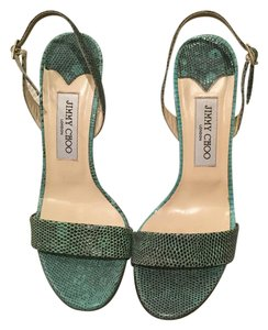 Jimmy Choo Green/Black Skin Sandals