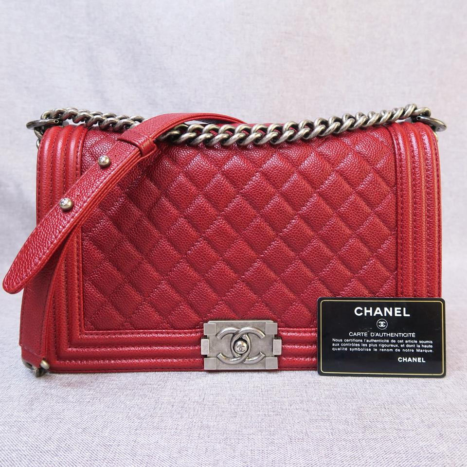 6022340a2a844e Chanel Boy Medium Red Caviar Shoulder Bag - Tradesy