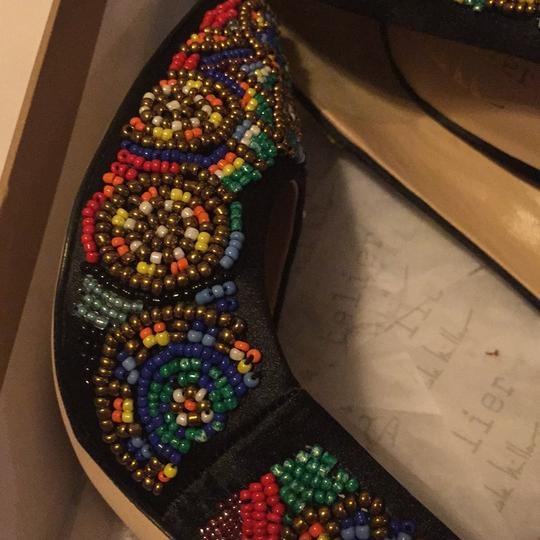 Nicole Miller Black Satin with Multi Color Beaded Pumps Image 1