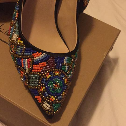 Nicole Miller Black Satin with Multi Color Beaded Pumps Image 10