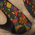 Nicole Miller Black Satin with Multi Color Beaded Pumps Image 2