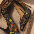 Nicole Miller Black Satin with Multi Color Beaded Pumps Image 3