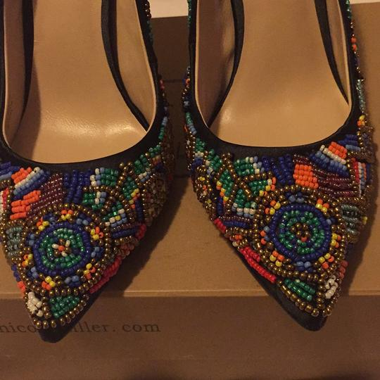 Nicole Miller Black Satin with Multi Color Beaded Pumps Image 5