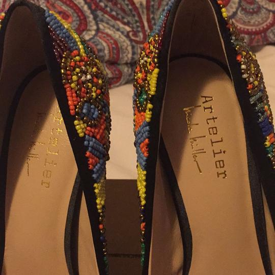 Nicole Miller Black Satin with Multi Color Beaded Pumps Image 6