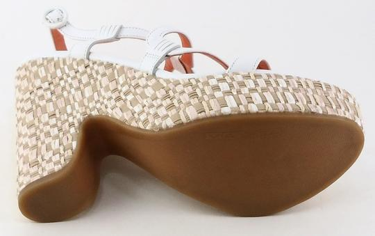 Via Spiga Leather Wedge White / Cream Sandals