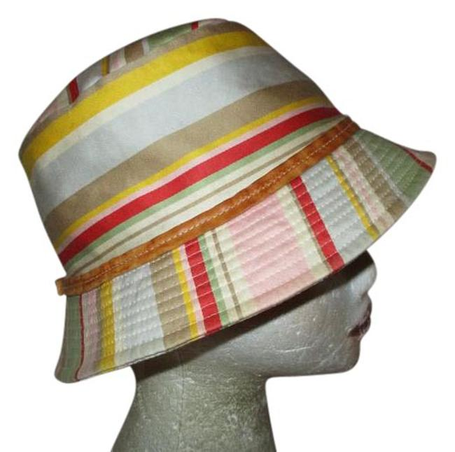 Item - Multicolor Bucket Leather Trim Striped Hat