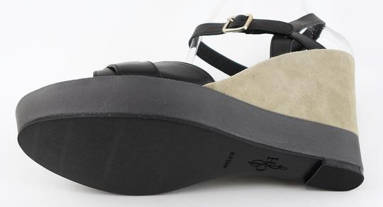 Cole Haan Leather Wedge Open Toe Black Sandals