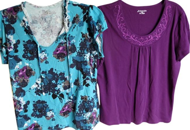 A.N.A. a new approach Top purple blue floral