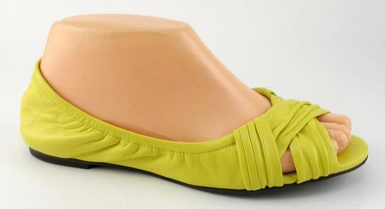 Cole Haan Open Toe Ballet Leather Chickadee Yellow Flats