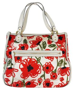 Coach Poppy Floral Glam Patent Leather Very Rare Tote in White and Red