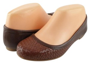 Cole Haan Brown Woven Leather Ballet Chestnut Sequoa Flats