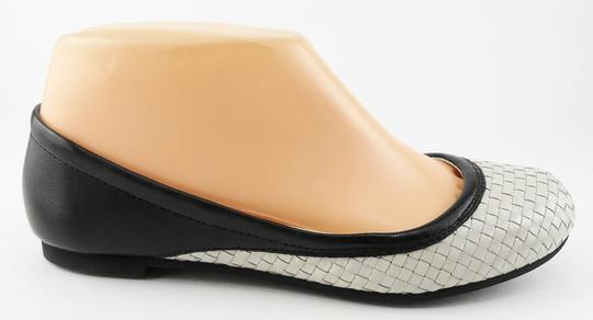 Cole Haan White Leather Woven Pavement Black Flats
