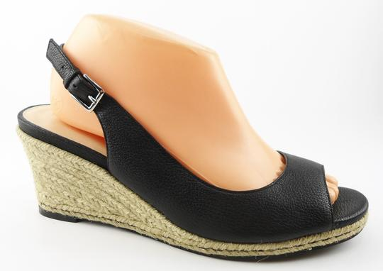 Cole Haan Wedge Slingback Leather Black Sandals
