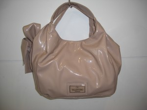 VALENTINO Lacca Bow Patent Leather Blush Shoulder Bag