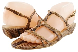 Stuart Weitzman Snake Leather Strappy Wedge Beige Sandals