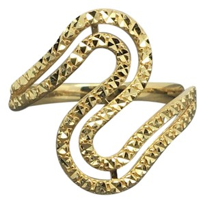 Other 14K Yellow Gold Diamond Cut Waves Style Wide Ring